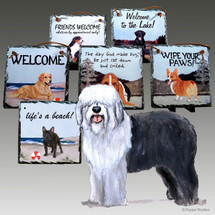 Old English Sheepdog Slate Signs