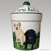 Hand Painted Custom Treat Jar by Zeppa Studios, Two Labradors