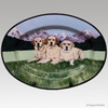 Gallery Style Hand Painted Rim Platter, Three Yellow Labs