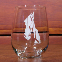 Horse Face Stemless Wine Glasses