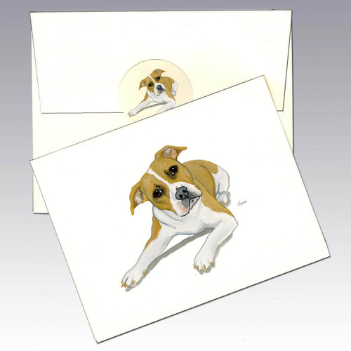 American Pit Bull Terrier Note Cards, uncropped and doing the head tilt.