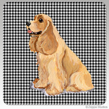 Blonde Cocker Spaniel Houndzstooth Coasters