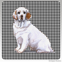 Clumber Spaniel Houndzstooth Coasters