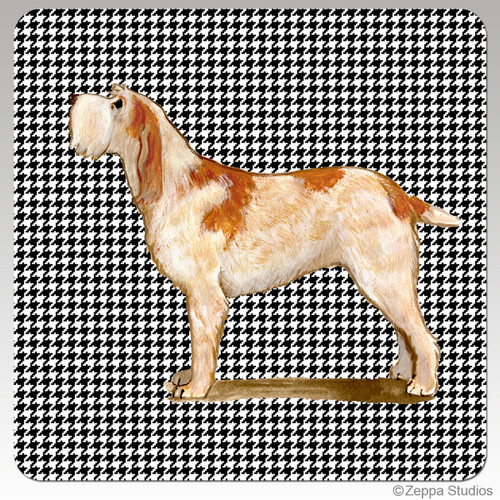 Red & White Italian Spinone Houndzstooth Coasters