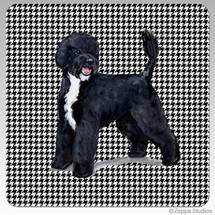 Portuguese Water Dog Houndzstooth Coasters