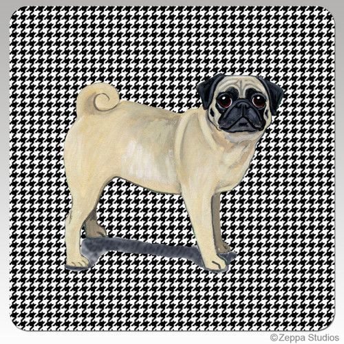 Pug Houndzstooth Coasters