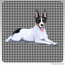 Rat Terrier Houndzstooth Coasters - Rectangle