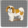 Tan and White Shih Tzu Puppy Clip Houndzstooth Coasters