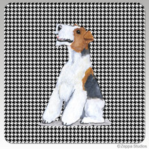 Wirehaired Fox Terrier Houndzstooth Coasters