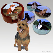 Australian Terrier Bisque Coaster Set