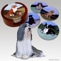 Bearded Collie Bisque Coaster Set