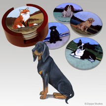 Black and Tan Coonhound Bisque Coaster Set