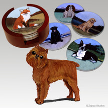 Brussels Griffon Bisque Coaster Set