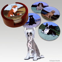 Chinese Crested Bisque Coaster Set