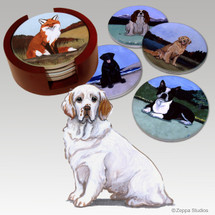 Clumber Spaniel Bisque Coaster Set
