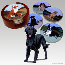 Flat Coated Retriever Bisque Coaster Set