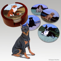 Miniature Pinscher Bisque Coaster Set
