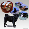 Black Pug Bisque Coaster Set