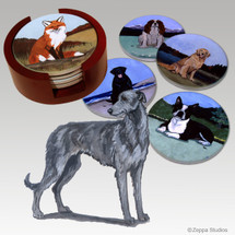 Scottish Deerhound Bisque Coaster Set