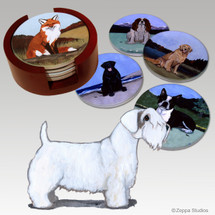 Sealyham Terrier Bisque Coaster Set