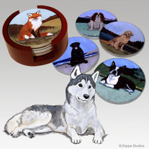 Siberian Husky Bisque Coaster Set