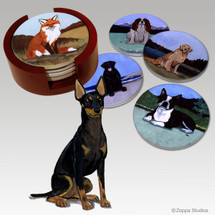 Toy Manchester Terrier Bisque Coaster Set