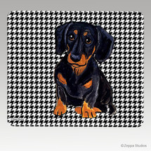 Black N Tan Dachshund Houndstooth Mouse Pad