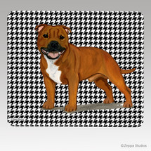English Staffordshire Terrier Houndstooth Mouse Pad