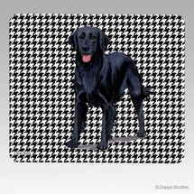 Flat Coated Retriever Houndstooth Mouse Pad
