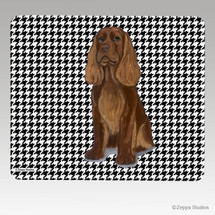 Sussex Spaniel Houndstooth Mouse Pad - Rectangle