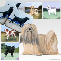 Lhasa Apso Oval Scenic Coasters