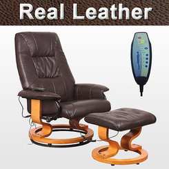 TUSCANY REAL LEATHER BROWN SWIVEL RECLINER MASSAGE CHAIR w FOOT STOOL