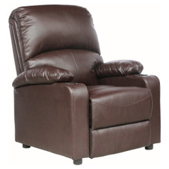KINO REAL BROWN LEATHER RECLINER ARMCHAIR w DRINK HOLDERS