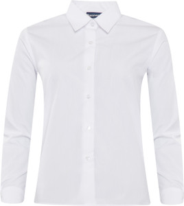 Blouse Closed Neck Long Sleeved - White Twin Pack