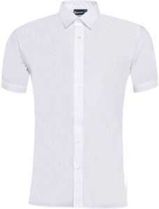 Blouse Closed Neck Short Sleeved - White Twin Pack