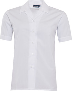 Blouse Open Neck Short Sleeve - White Twin Pack