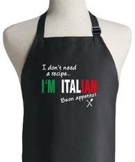 ITALIAN RECIPE BLACK APRON