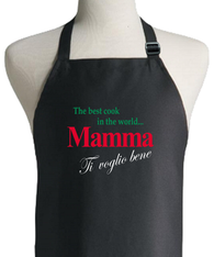 ITALIAN MOTHER BLACK APRON