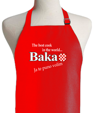 CROATIAN GRANDMOTHER RED APRON