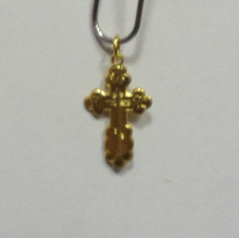 Jewelry- Sterling Silver 24 Karat Gold Plated Budded Cross Pendant