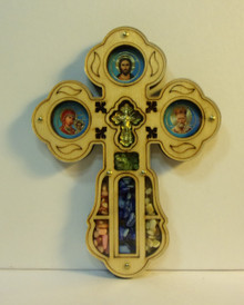 Cross- Wooden Cross with Icons and Incense (2)
