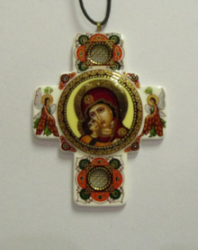 Jewelry- White Theotokos Neckcross