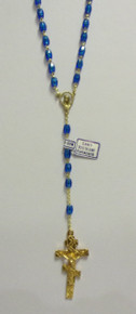 Rosary- Blue Beaded Rosary with Gold 3-Bar Cross (2)