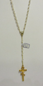 Rosary- Clear Beaded Rosary with Gold 3-Bar Cross (2)