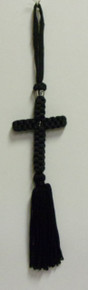 Cross- Black Woven Hanging Cross With Tassel