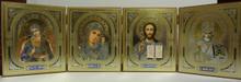 Icon- Quadtych With St. Michael, Theotokos, Christ The Teacher & St. Nicholas
