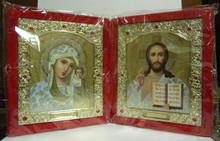 Icon- Diptych of Virgin of Kazan & Christ The Teacher in Velvet Case