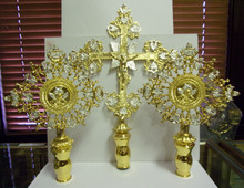 Set of 2 Processional Liturgical Fans & 1 Cross (Metal)