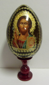 Wooden Christ Egg With Stand