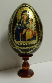 Wooden Theotokos Egg With Stand (1)